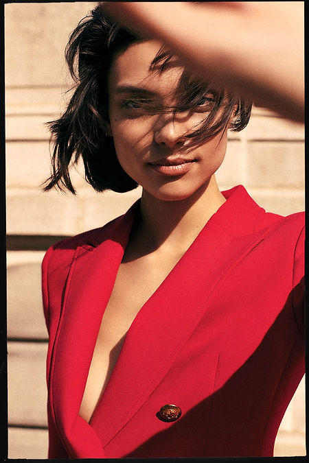 Intermix NYC fall 19 campaing Charlee Fraser in Red Suit