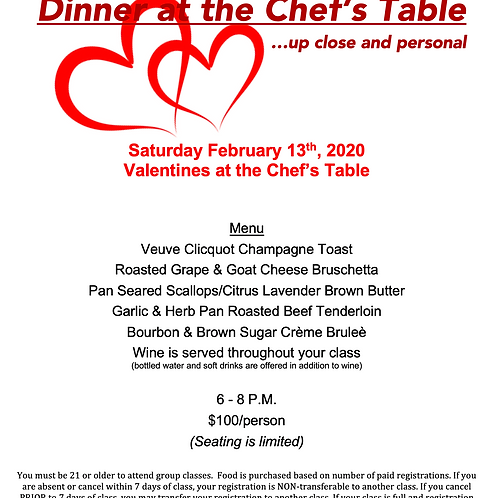 """""""Valentines at the Chef's Table"""" Saturday February 13th @ The Cosmopolitan"""