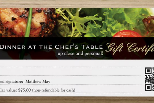 """Dinner at the Chef's Table"" GIFT CERTIFICATE"