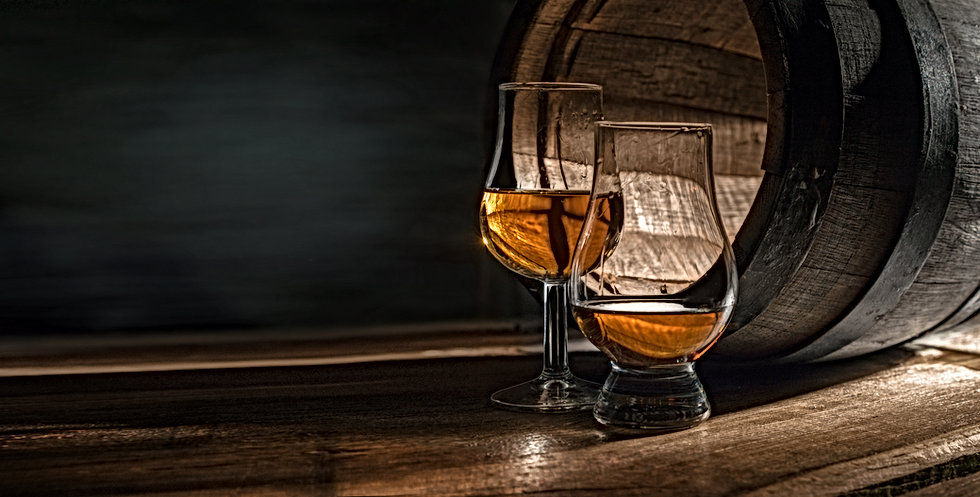 Two glasses with whiskey. They are for p