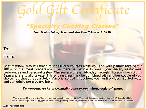 """Specialty Class"" Gold Gift Certificate"