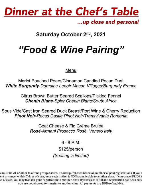 """Food & Wine Pairing"" Saturday October 2nd @ The Cosmopolitan #12"