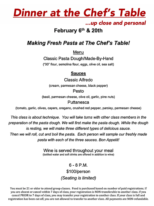 """""""Fresh Pasta at the Chef's Table"""" Saturday February 6th @ The Cosmopolitan"""