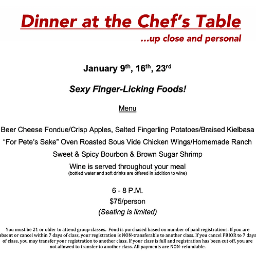 """""""Sexy Foods at the Chef's Table"""" Saturday January 16th @ The Cosmopolitan"""