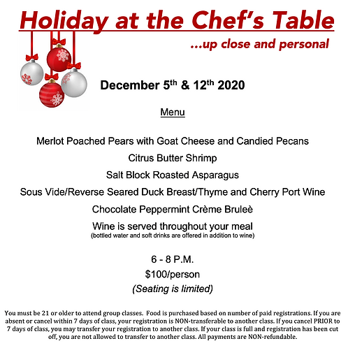 """Holiday at the Chef's Table"" Saturday December 12th @ The Cosmopolitan #"