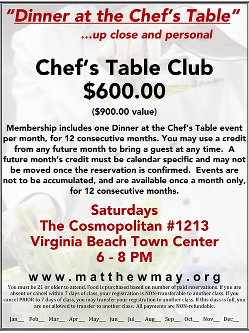 """""""Dinner at the Chef's Table"""" CLUB MEMBERSHIP @ The Cosmopolitan #1213"""