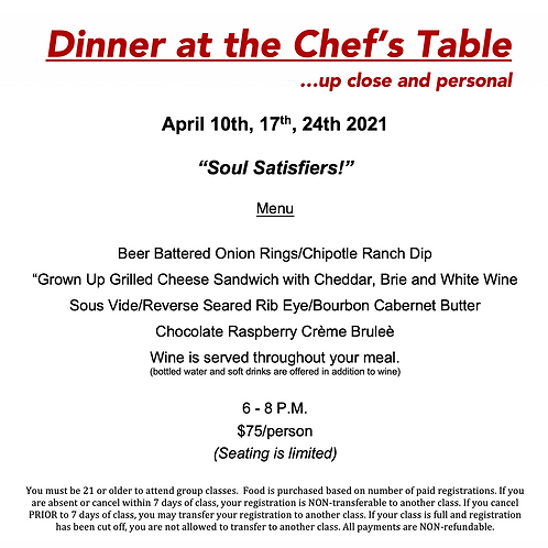 Soul Satisfiers at the Chef's Table Saturday April 10th @ The Cosmopolitan #1213
