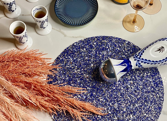 Blue Crush - Encrusted crystal placemat
