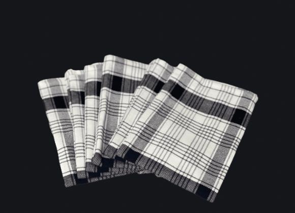 """20"""" x 20"""" Black & White napkin Set of 6"""