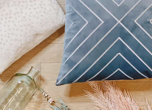Archer - Blue/gray velvet w silver embroidered pillow