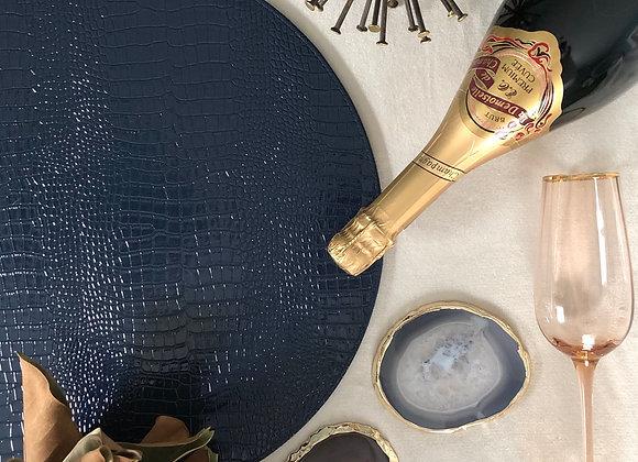 So Faux! - Navy blue faux croc placemat