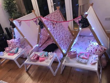 Unicorn teepee sleepover parties in surrey, Essex, Herts, Bucks & Middlesex