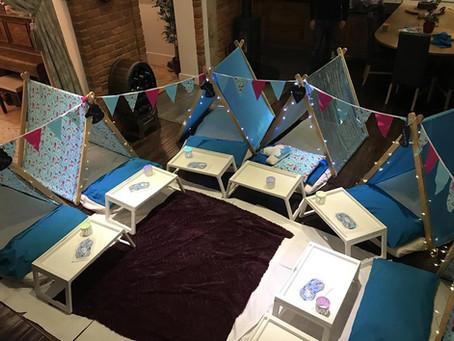 Blue unicorn slumber party in Chorleywood