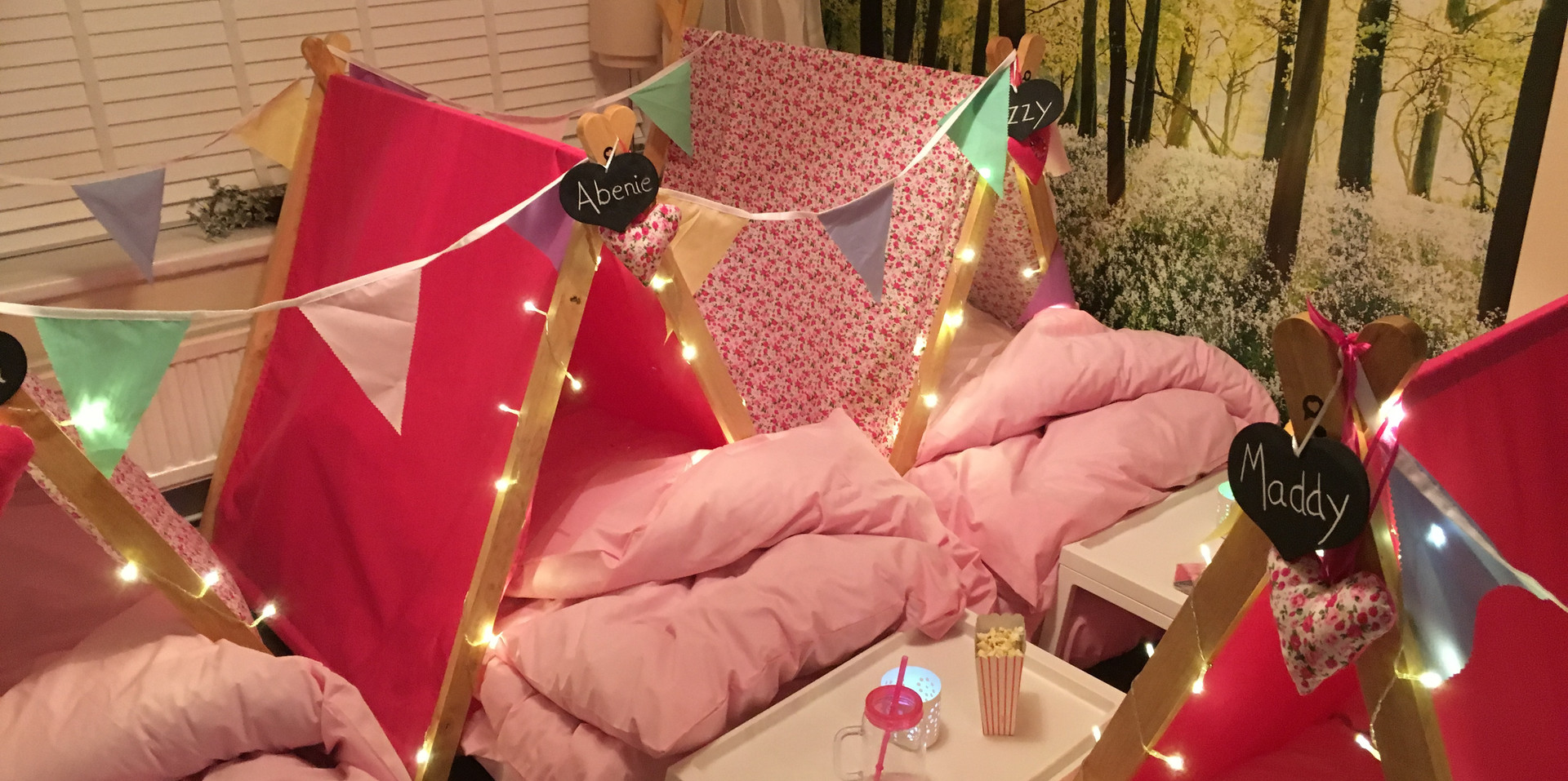 Pink Flowers Sleepover Party Theme