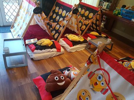 Emoji sleepover party in Ruislip