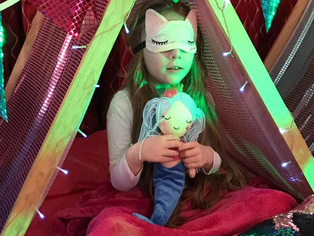 Mermaid mad indoor glamping sleepover party