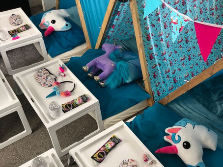 💙🦄Our new sleepover blue unicorn themed Tiny Tents in action 🦄💙