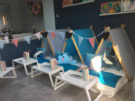 Blue butterfly sleepover Tepee party Ruislip