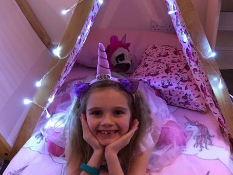 Unicorn slumber teepee party potters bar in Hertfordshire.
