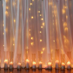 White fabric backdrop with lights