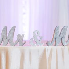 Silver glitter Mr & Mrs