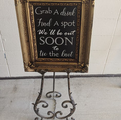 Grab a drink sign and easel