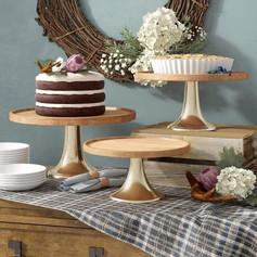 Set of 3 wood/gold Cake Plates