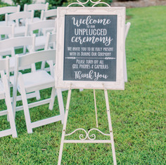 Unplugged Ceremony sign and Easel