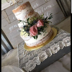 14x14 Gray and Lace Cake Stand