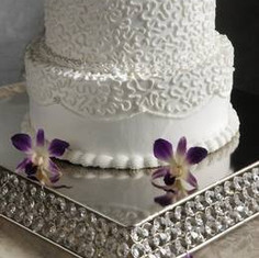 """10"""" Crystal Square Cake Stand"""