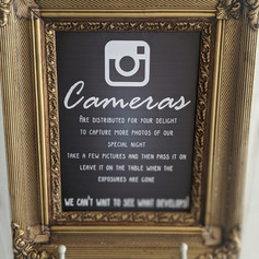 Cameras sign on Easel