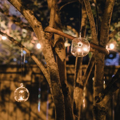 Hanging tealight glass globes