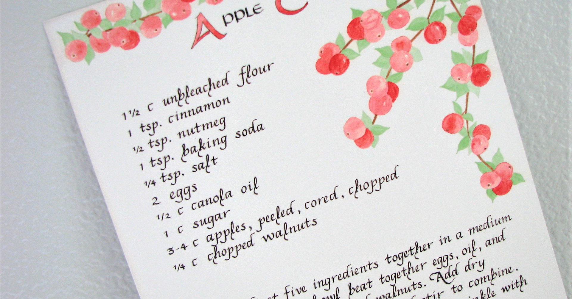 Apple Cake Calligraphy Recipe Print