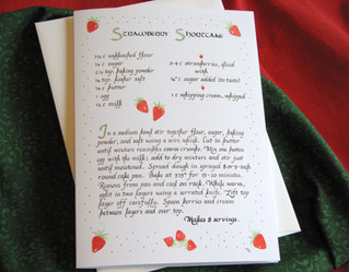"Strawberry Shortcake Calligraphy Recipe 5"" x 7"""