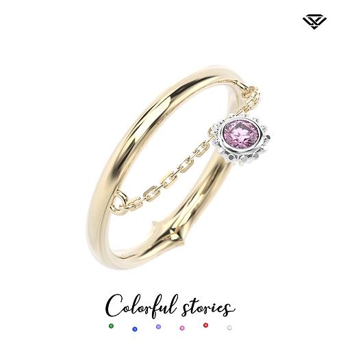 Pierścionek classic chain z różowym szafirem Colorful Stories