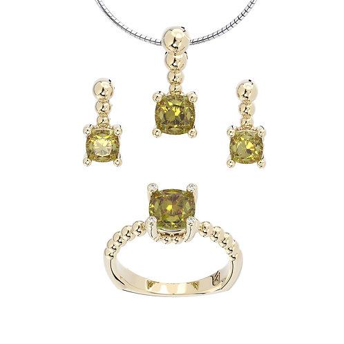 Komplet biżuterii - kolekcja Csarite z diamentami - cushion cut