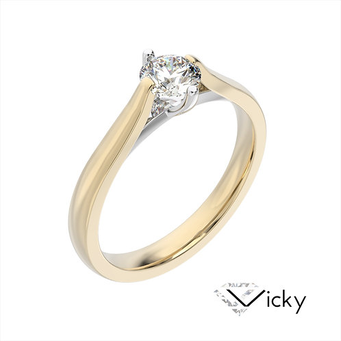 Vicky pierścionek z diamentem z żółtego i białego złota