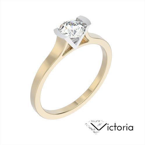 Victoria pierścionek z diamentem z żółtego i białego złota