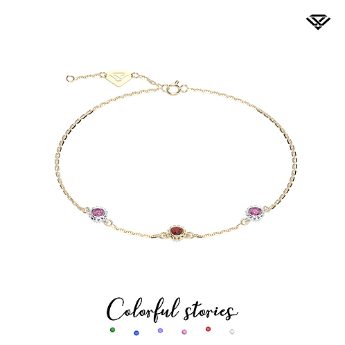 Bransoletka z rubinem i różowymi szafirami Colorful Stories