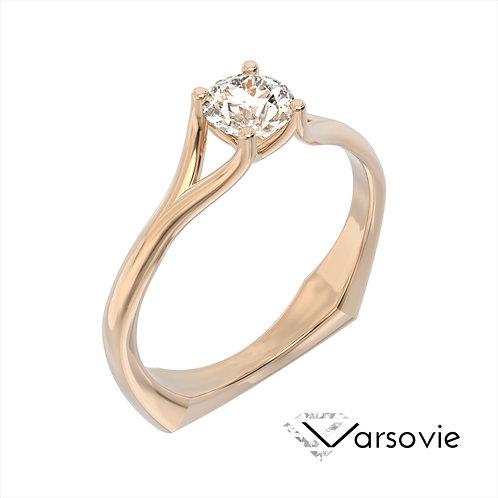 Varsovie pierścionek z diamentem z różowego złota