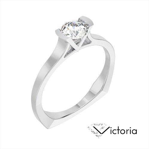 Victoria pierścionek z diamentem z białego złota