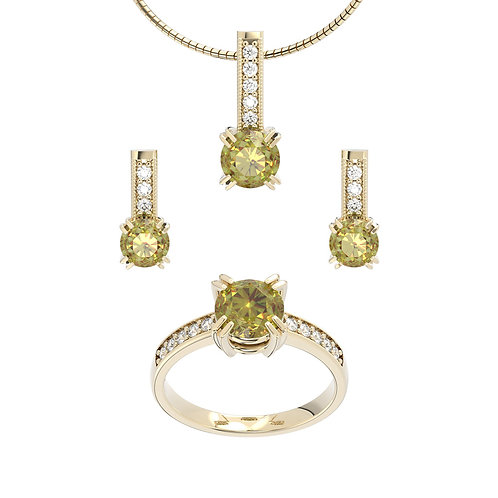 Komplet biżuterii - kolekcja Csarite z diamentami - round cut