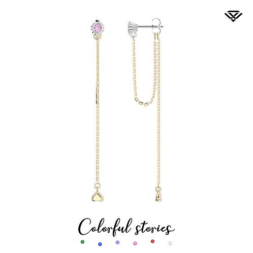 Kolczyki z różowymi szafirami i długimi łańcuszkami Colorful Stories