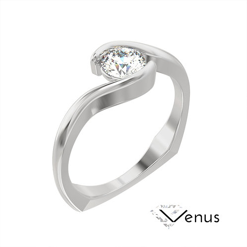 Venus pierścionek z diamentem z białego złota