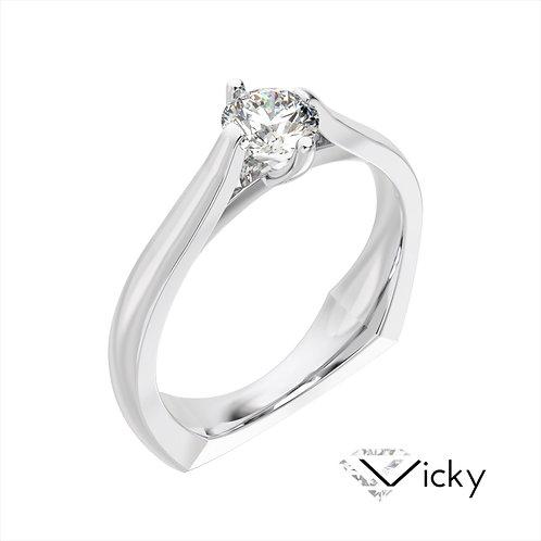 Vicky pierścionek z diamentem z białego złota