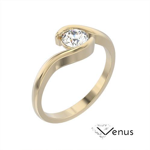Venus pierścionek z diamentem z żółtego złota