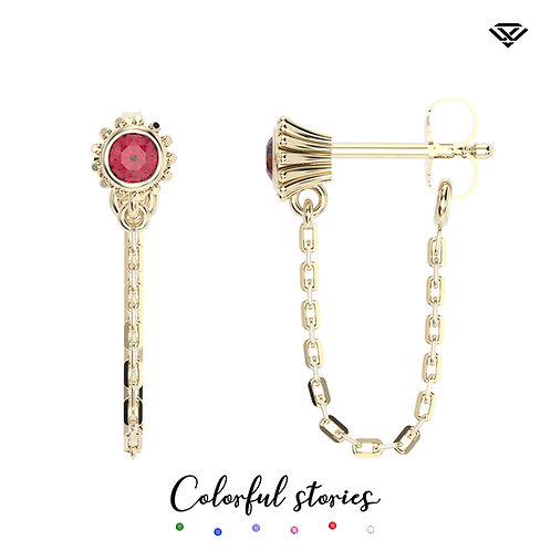 Kolczyki classic z rubinami i krótkimi łańcuszkami Colorful Stories