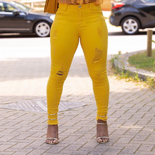 Nulz Yellow Frayed Hem Ripped Jeans