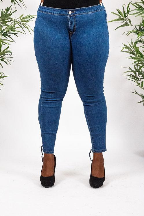 Anje Blue High Waist Lace up Jeans