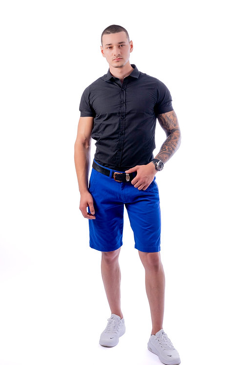 Mick Blue Slim Fit Denim Turn Up Shorts